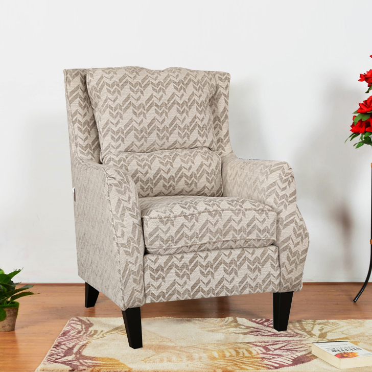 Patricia Fabric Arm Chair in Beige Colour by HomeTown
