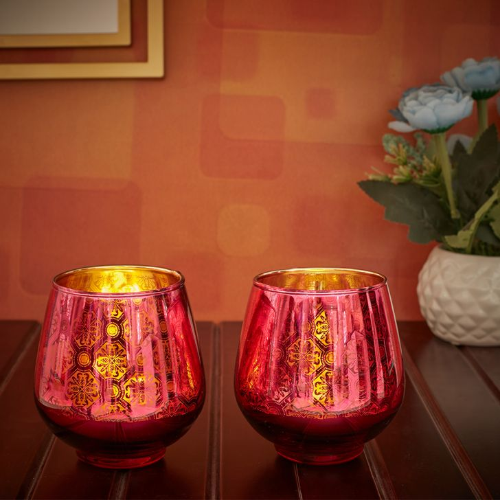 Zahara Set Of 2 Round Flower Glass Candle Holders in Pink Colour by Living Essence