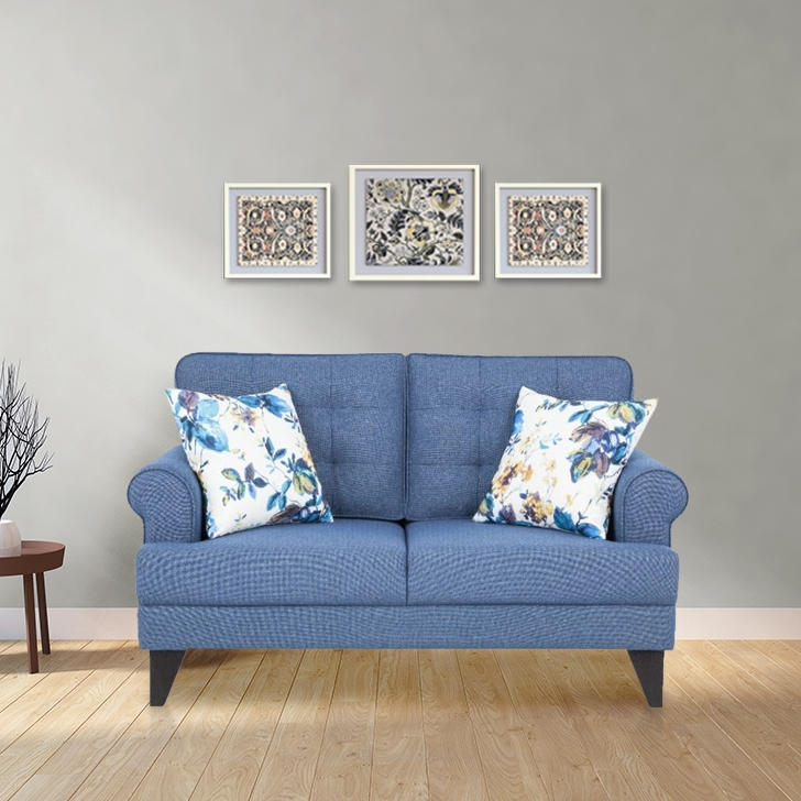 Paddington Fabric Two Seater Sofa in Blue Colour by HomeTown