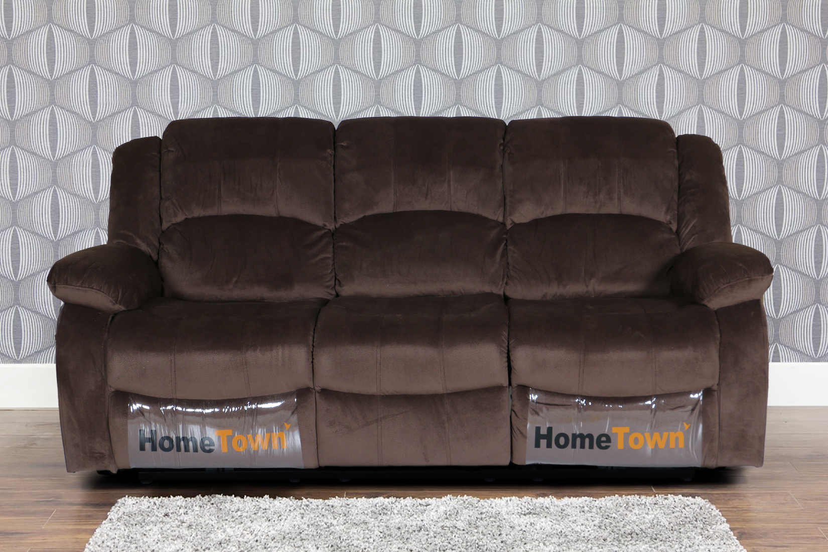 Rhea Fabric Three Seater Recliner in Brown Colour by HomeTown