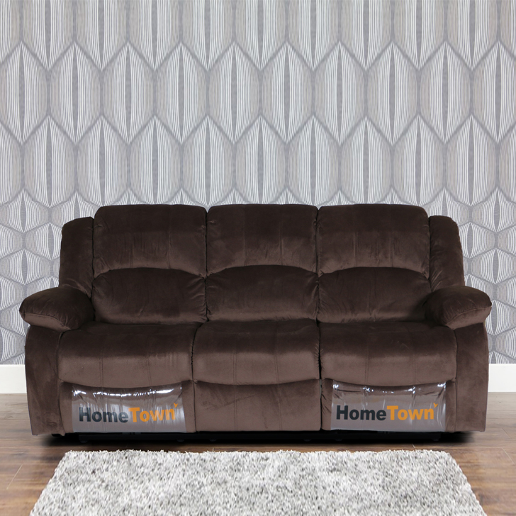 Rhea Fabric Three Seater Electric Recliner in Brown Colour by HomeTown