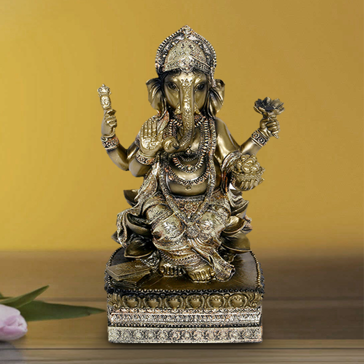HomeTown Fio Polyresin Embellished Ganesha Statue Brushed Gold Polyresin Idols in Brushed Gold Colour by HomeTown
