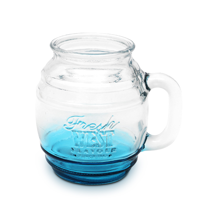 Zes Glass Beer Mug Blue 450 ml Glass Glasses & Tumblers in Blue Colour by Living Essence