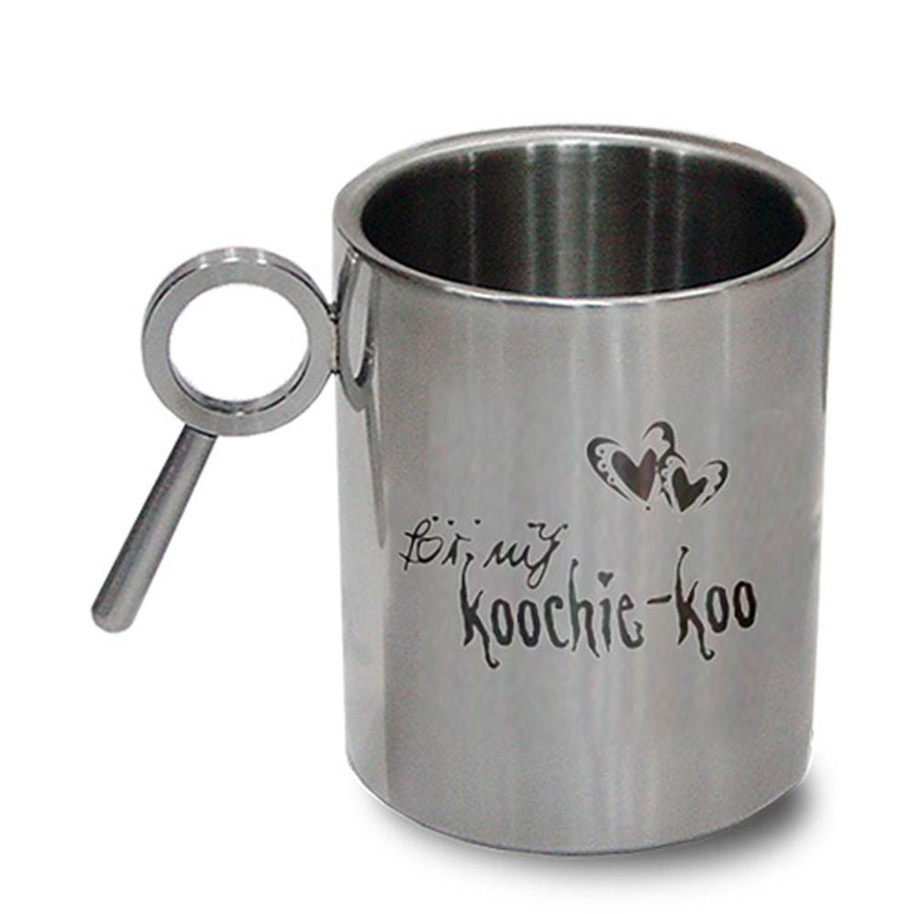 Hot Muggs Koochie koo.Stainless Double Mug 350 ml, Stainless steel Coffee Mugs in Silver Colour by HotMuggs