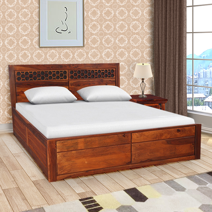Amara Sheesham Wood(Rosewood) Box Storage Queen Size Bed in Honey Colour by HomeTown