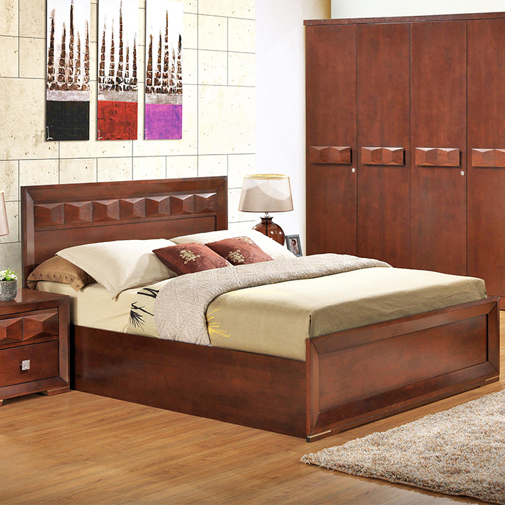 Amelia Engineered Wood Hydraulic Storage King Size Bed in Walnut Colour by HomeTown