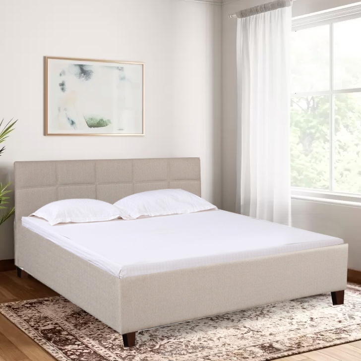 Allen Engineered Wood Fabric Upholstered King Size Bed in Taupe Color by HomeTown