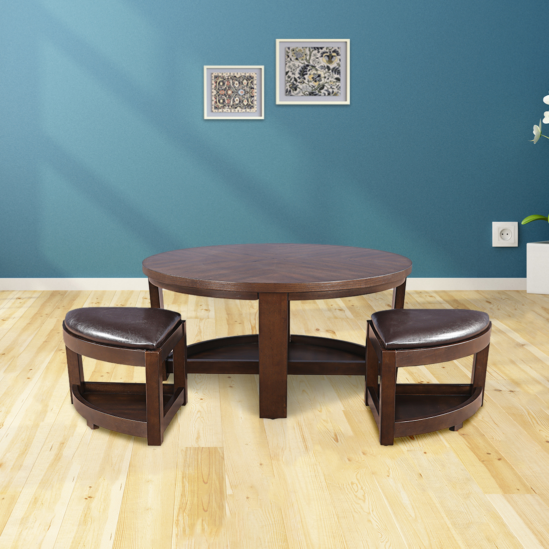 Ryan Solid Wood Center Table With Two Stools in Brown Colour by HomeTown