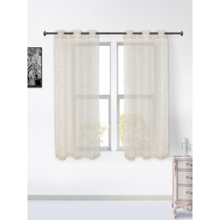 Amour Sheer Set of 2 Polyester Window Curtains in Gold Colour by Living Essence