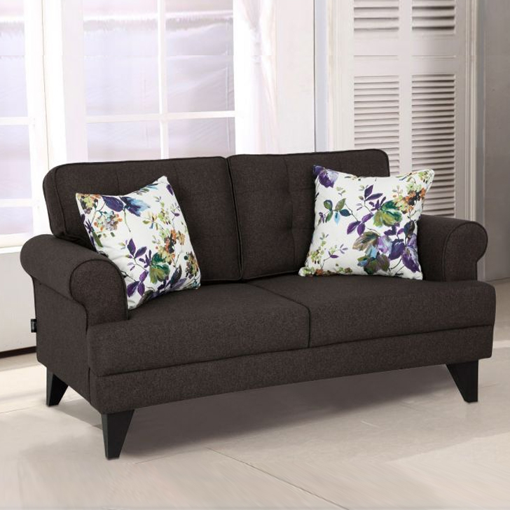 Miller Fabric Two Seater Sofa in Brown Colour by HomeTown