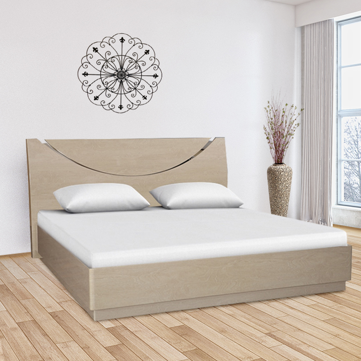 Aurelia Engineered Wood Queen Size Bed in High Gloss Light Maple Colour by HomeTown