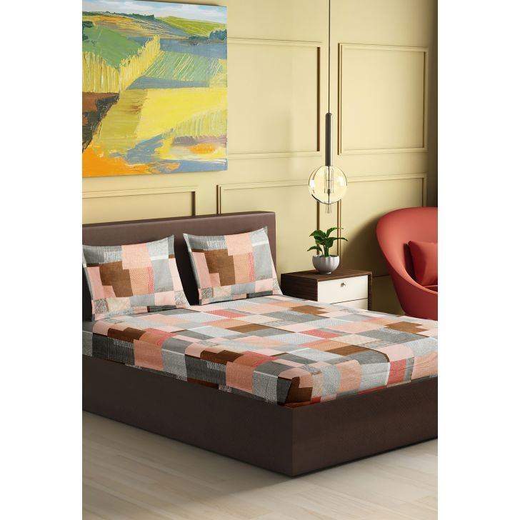 Tussah Cotton King Bedsheet 274 x 274cms in Pink Colour