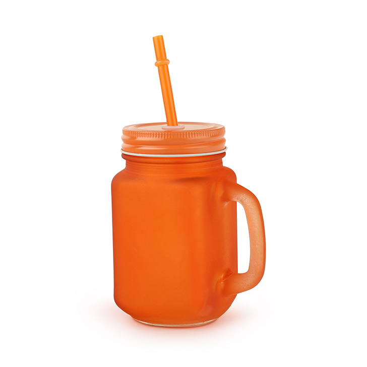 Frosted Tangello Glass Mason Jars 450 ml in Orange Colour by Living Essence
