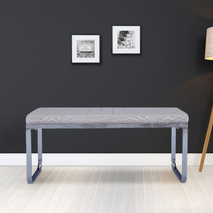 Opera Engineered Wood Four Seater Dining Bench in White & Grey Colour by HomeTown