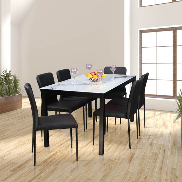 Modric Mild Steel Six Seater Dining Set in White Color by HomeTown