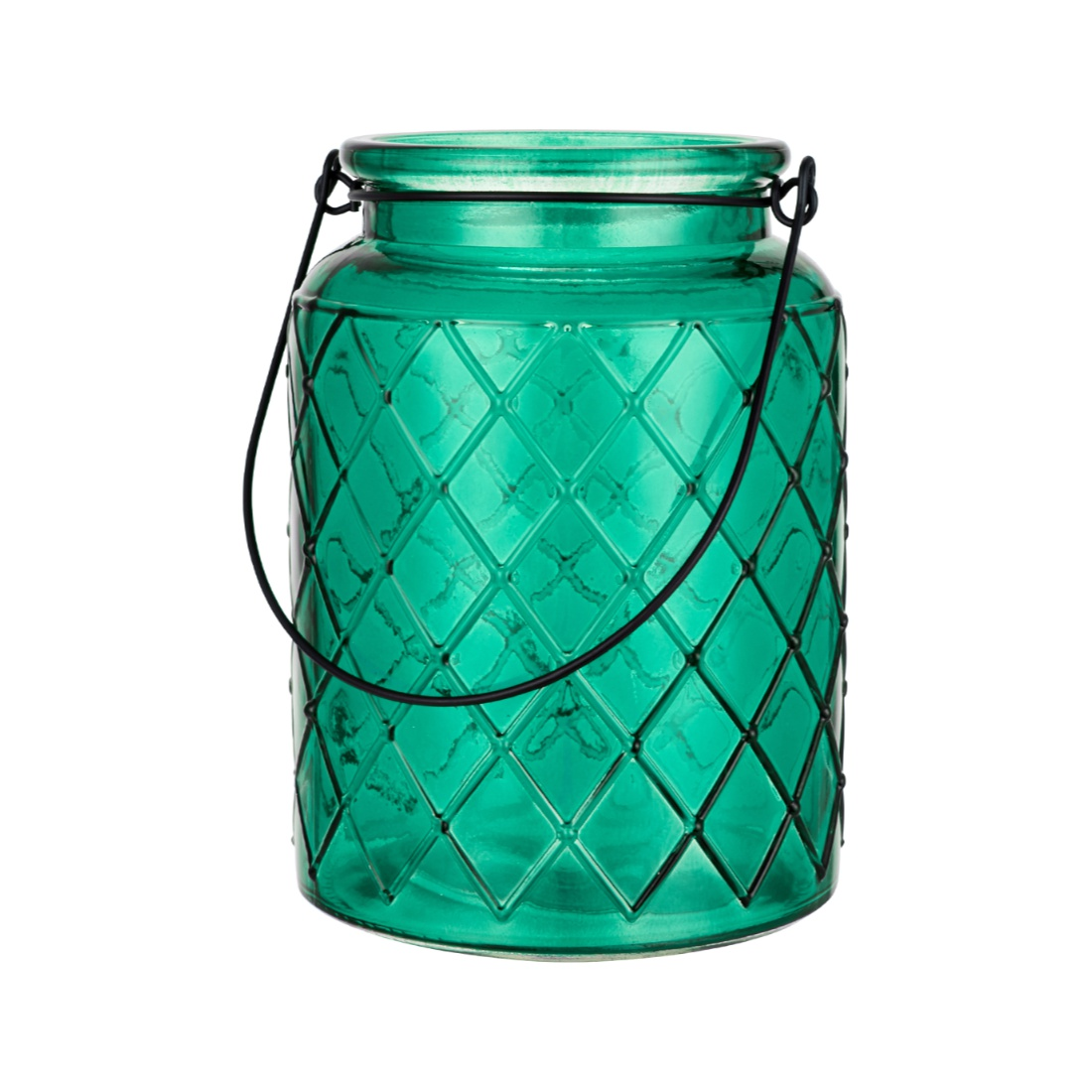 Verve Diamond Design Candle Holder Set of Two Emerld Glass Candle Holders in Emerald Colour by Living Essence