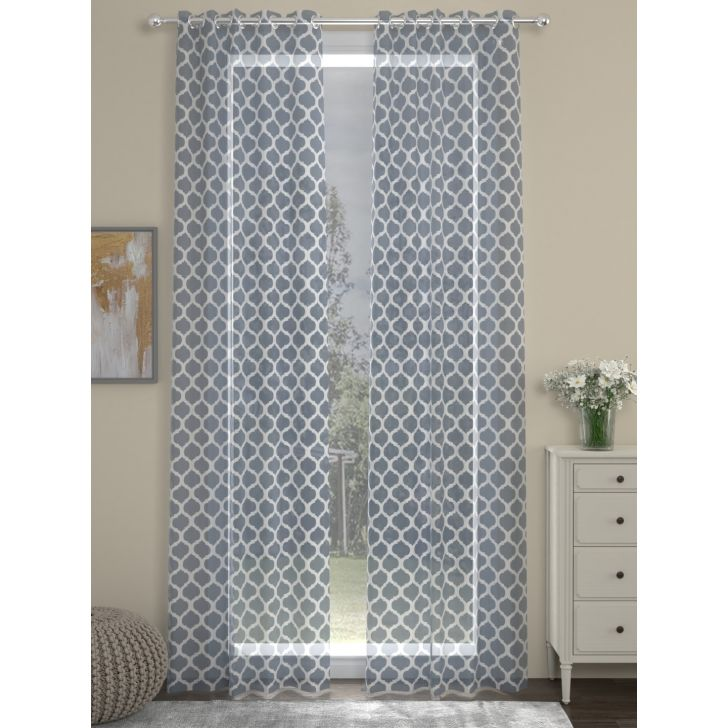 Voile Spaces Long Door Curtain In Grey Color By Rosara Home