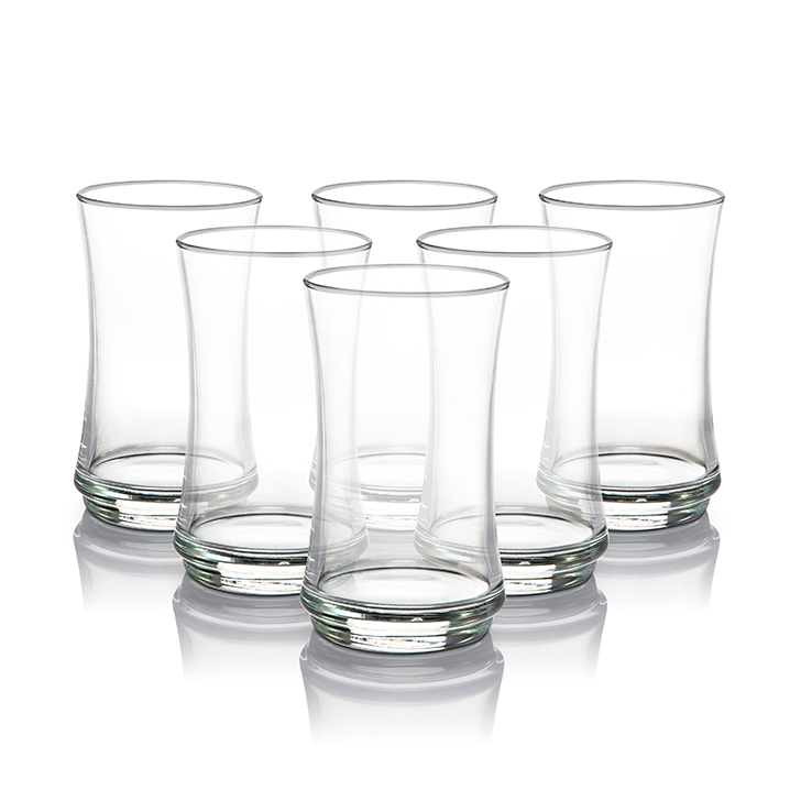 Lyra Lune Long Drink Glass 365 ml Glass Bar Glassware in Transparent Colour by Living Essence