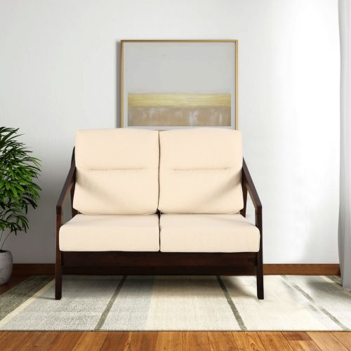 Borris Solid Wood Two Seater Sofa With Cushions In Beige Colour By Hometown