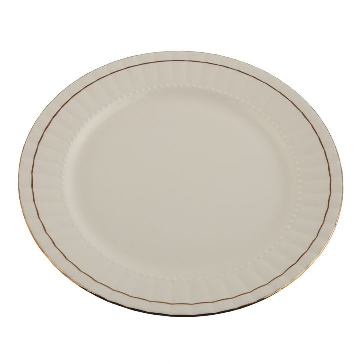 Ocean Gold Full Plate Ceramic Plates in White Colour by Living Essence