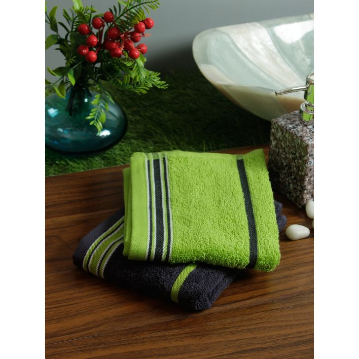 Set of 2 Emilia Cotton Hand Towels in Charcoal Lime Colour by Living Essence