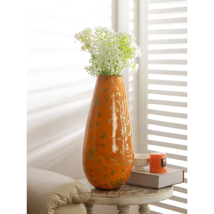Groot Bamboo Vase in Orange Colour by HomeTown