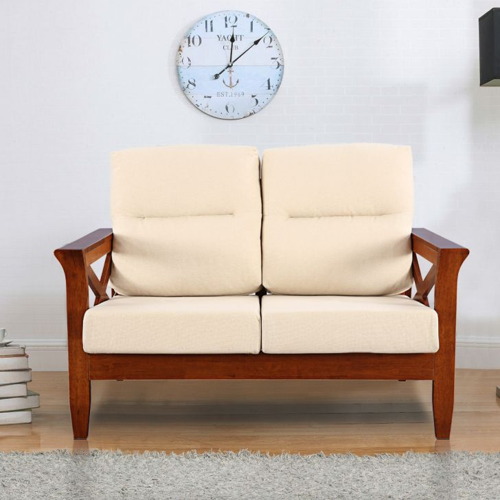 Aldrich Solid Wood Two Seater Sofa With Cushion in Beige Colour by HomeTown