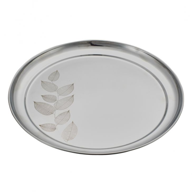 Rajbhog Plate Stainless steel Plates in Silver Colour by Living Essence