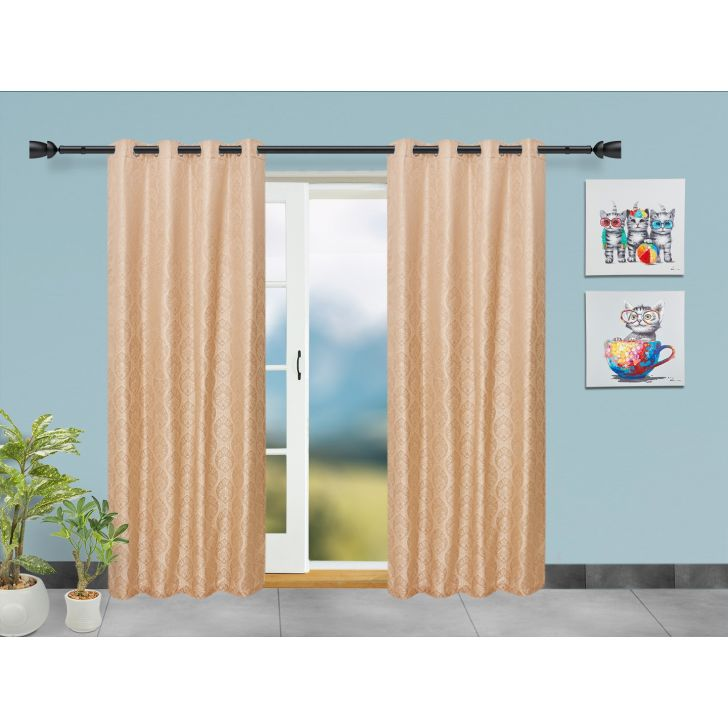 Emilia Jacquard Set of 2 Polyester Door Curtains in Beige Colour by Living Essence