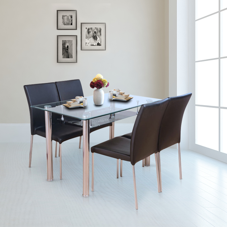 Vento Metal Four Seater Dining Set in Black Colour by HomeTown