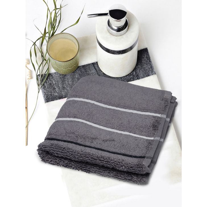 Portico New York Myra Multistripe Face Towel 30 cms x 30 cms in Grey Color by Portico