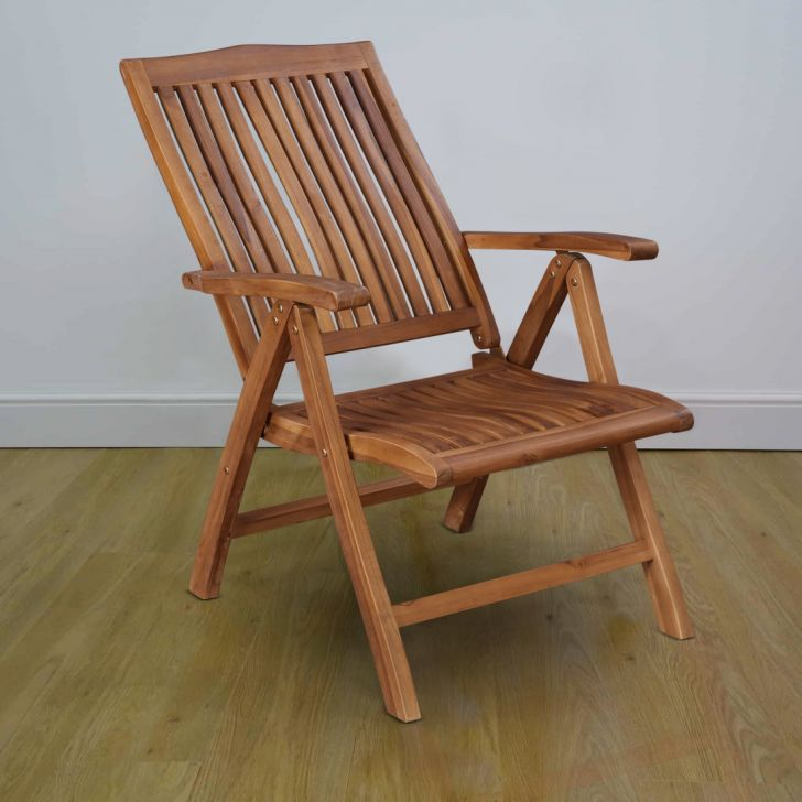 Bali Solid Wood Reclining Chair in Teak Colour by HomeTown