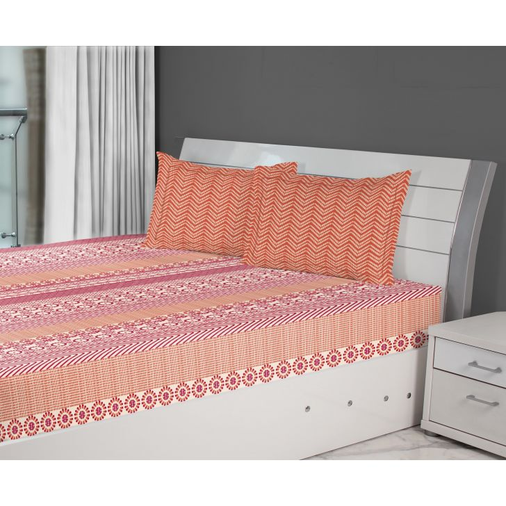 Fiesta Stripe Cotton Double Bed Sheets in Red Colour by Living Essence
