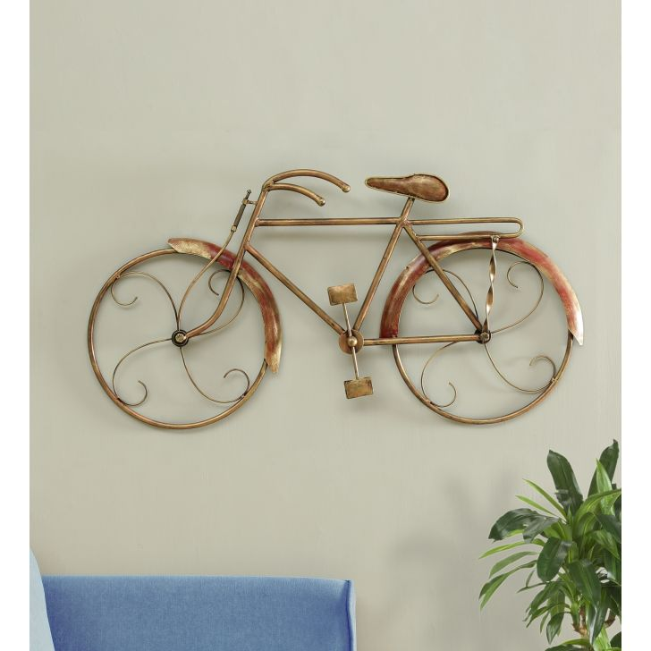 Royce Metal Modern Cycle Wall Decor in Gold Colour by Living Essence