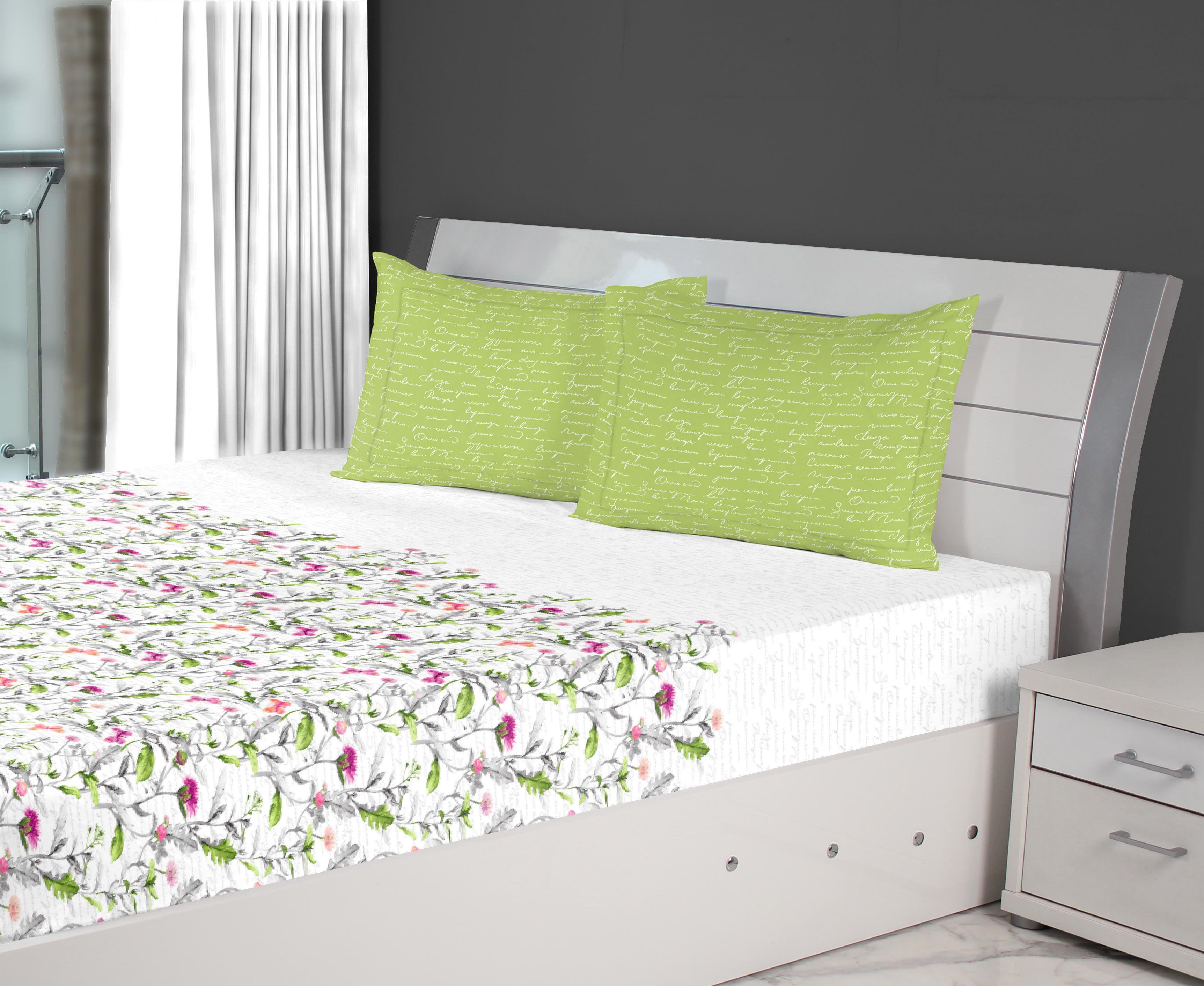 Nora Butterfly Printed Cotton Double Bedsheets in Green Colour by Living Essence