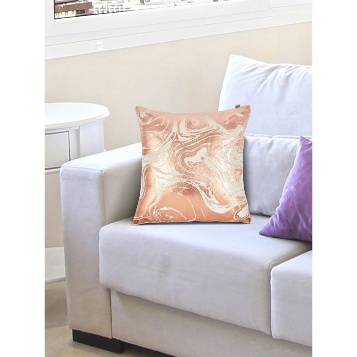 Chic Affair Marble Polyester Cushion Covers in Blush Colour by Living Essence