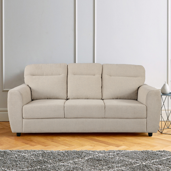 Chelsea Fabric Three Seater Sofa in Beige Colour by HomeTown