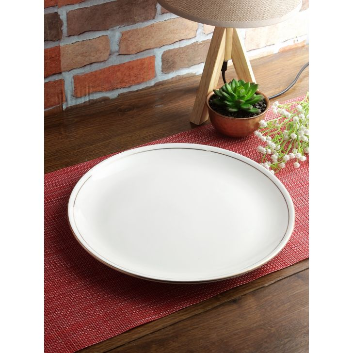 Avril Bone China Dinner Plate 27 Cm in White Colour by Living Essence