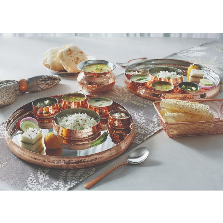Copper Traditional Thali Set Stainless steel Serving Sets in Copper Colour by Songbird