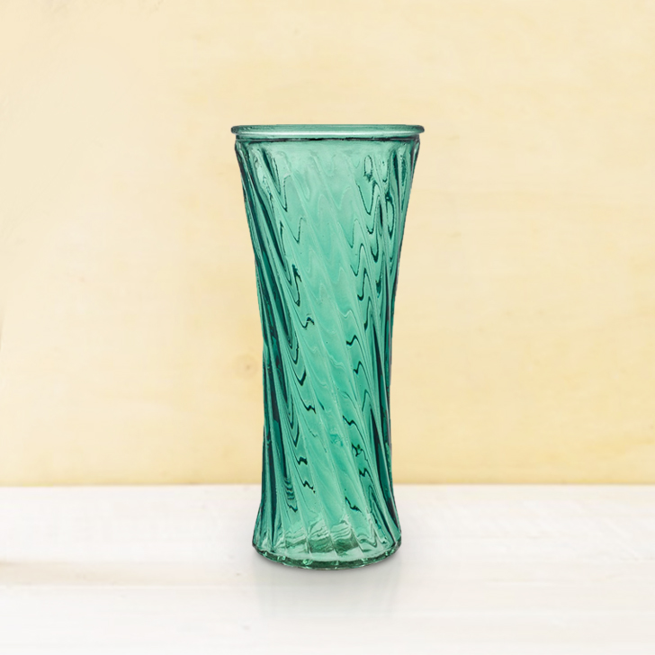 Verve Ribbed Vase 20Cm Emerald Glass Vases in Emerald Colour by Living Essence