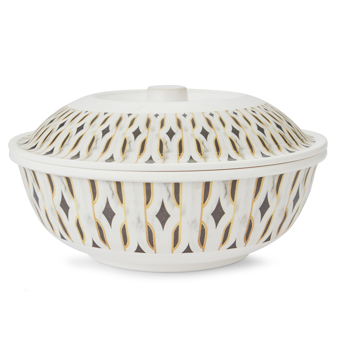 Chrysler Serving Bowl With Lid Serving Bowls in Black & White Colour by Living Essence
