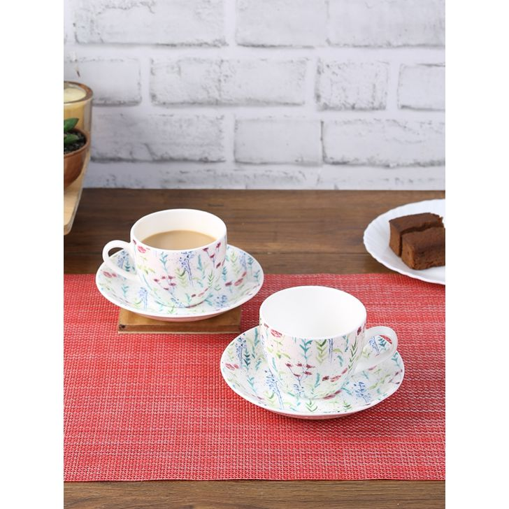 Bahamas Aster Ceramic Cup & Saucer Set Of 12 220 Ml in Multi Colour by Living Essence