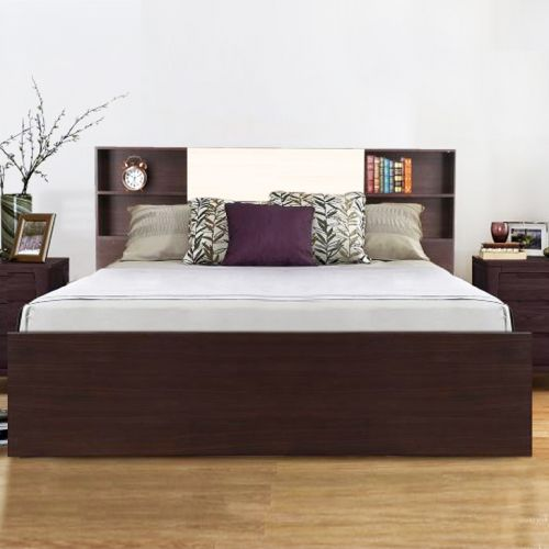 Buy Alysson Engineered Wood Box Storage Queen Size Bed In Wenge
