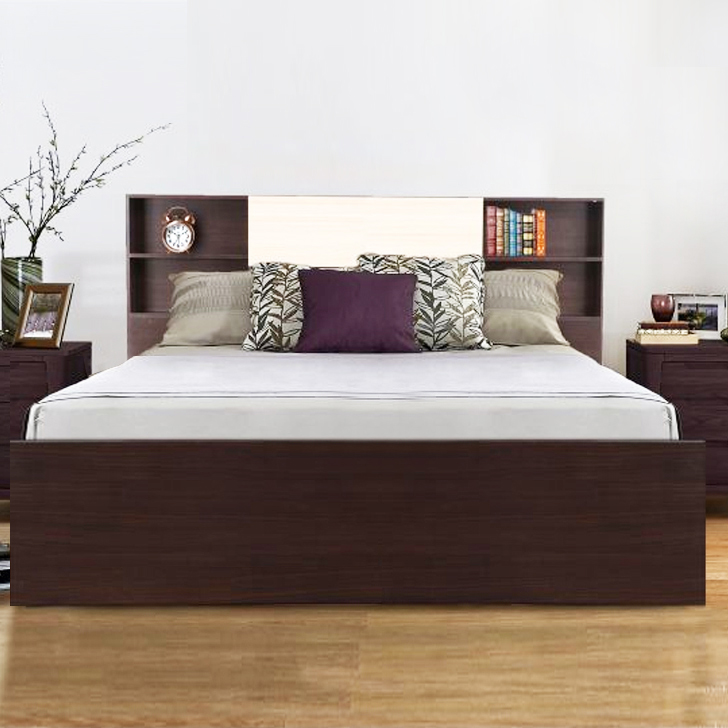 King Size Bed.Alysson Engineered Wood Box Storage King Size Bed In Wenge Colour By Hometown