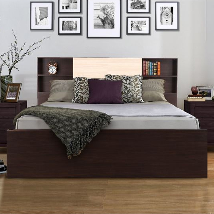 Alysson Engineered Wood Box Storage King Size Bed in Wenge Colour by HomeTown