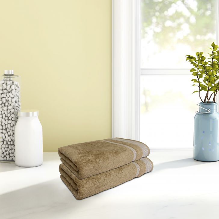 Hygro Cotton Hand Towel Set Of 2 40X60 Cm in Champagne Gold Colour