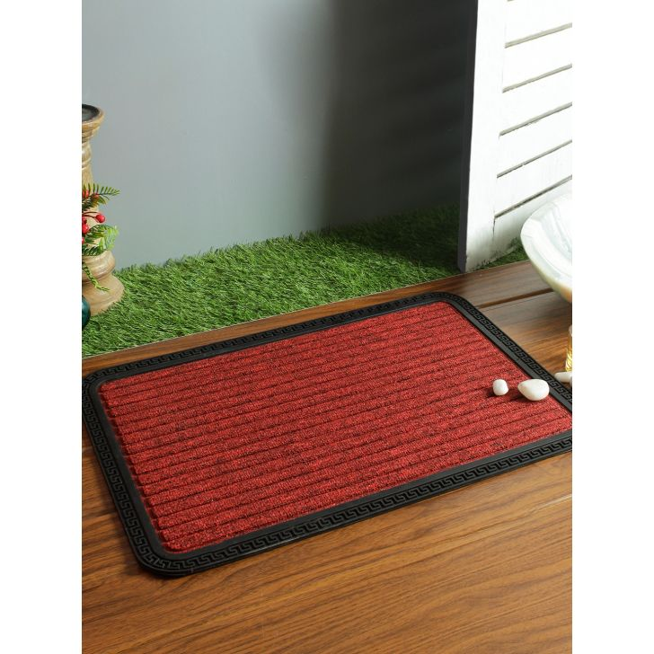 Fiesta Pvc Door Mats in Maroon Colour by Living Essence