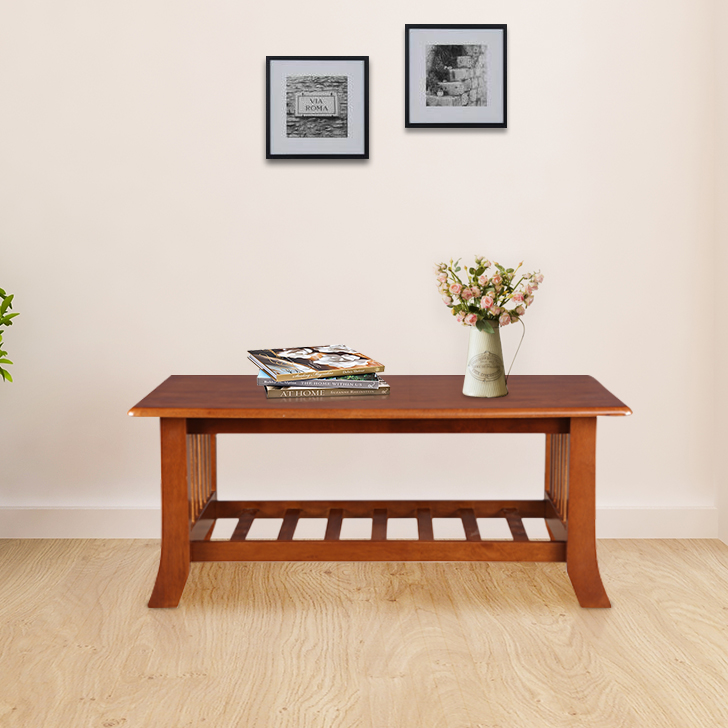 Aubrey Solid Wood Center Table in Dirty Oak Colour by HomeTown