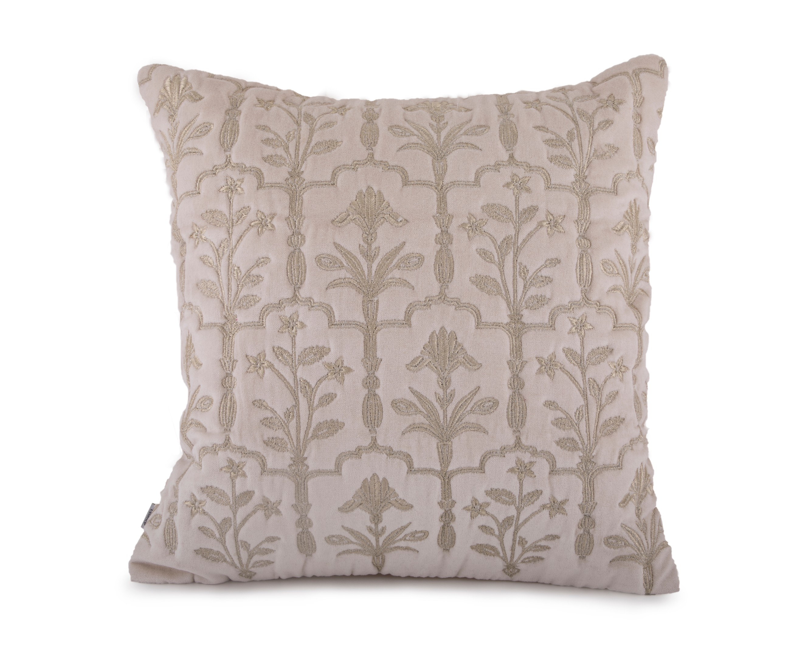 Sirah Off White Cushion Cover Velvet Cushion Covers in Dusty Blue Colour by Living Essence