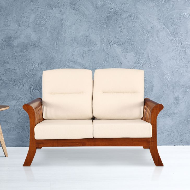 Aubrey Solid Wood Two Seater Sofa With Cushion in Beige Colour by HomeTown